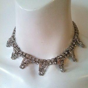 Vintage 1950s Rhinestone choker necklace glamour